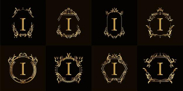 Буквица i логотипа с роскошным орнаментом или цветочной рамкой