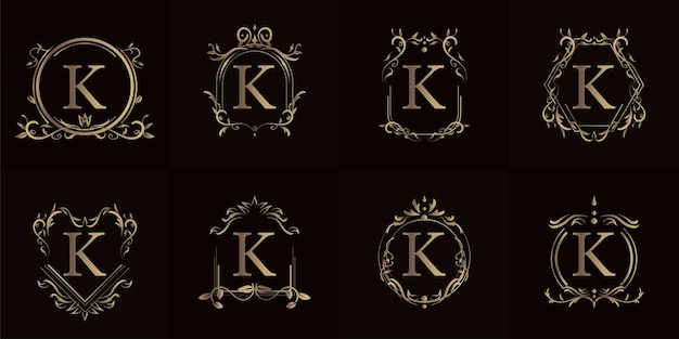Logo initial k with luxury ornament or flower frame, set collection.