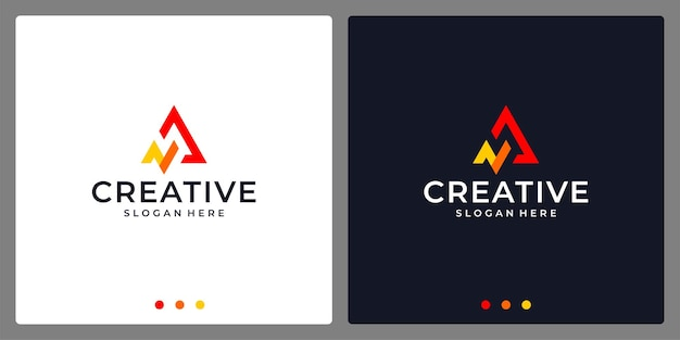 Logo initial letter a abstract with analytics logo. business card.