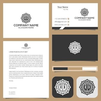 Логотип буквица jluu в сочетании с рамкой красоты на визитной карточке премиум векторы