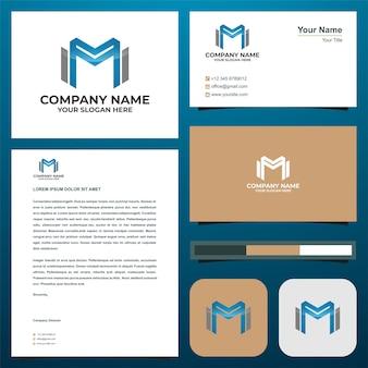 Логотип буквица m на визитной карточке премиум векторы премиум логотип