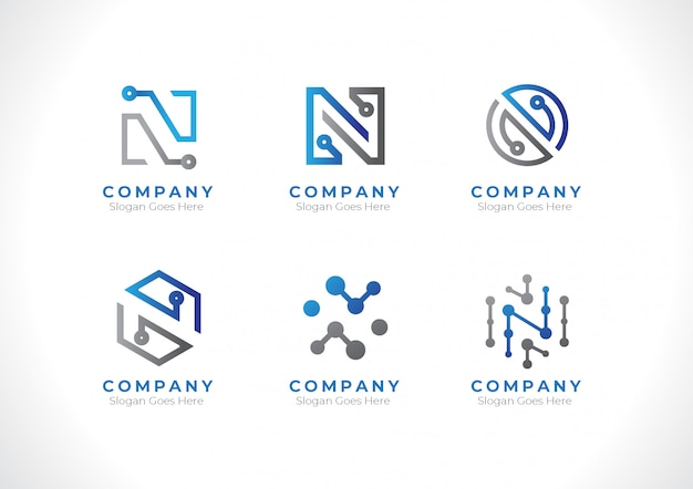 Logo initial letter n technology