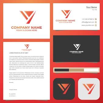 Логотип буквица y на визитке премиум векторы премиум логотип