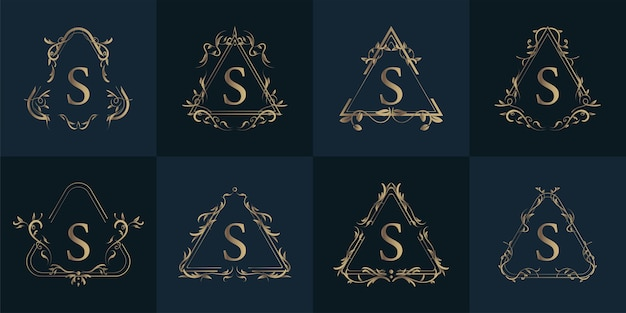 Logo initial s with luxury ornament or flower frame, set collection.