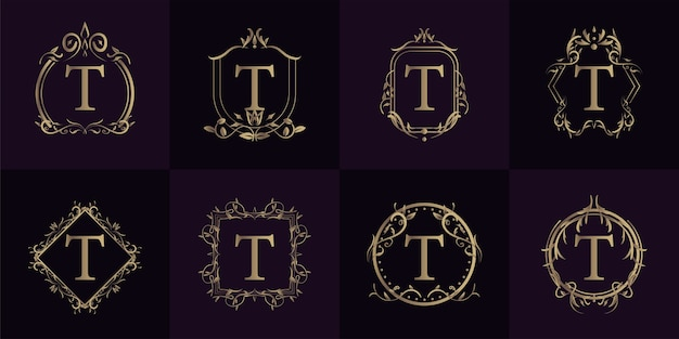 Logo initial t with luxury ornament or flower frame, set collection.