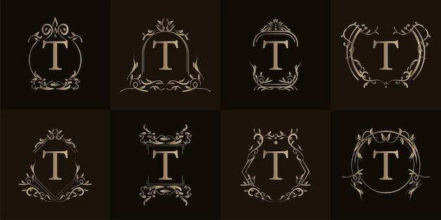 Буквица t с роскошным орнаментом или цветочной рамкой, набор коллекции.