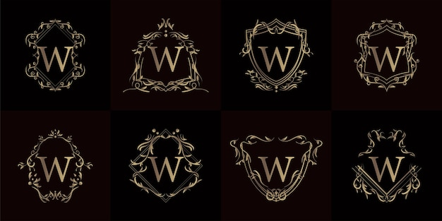 Logo initial w with luxury ornament or flower frame, set collection.