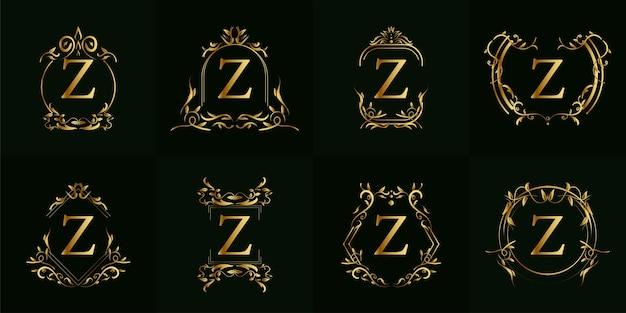 로고 이니셜 z, 고급 장식 또는 꽃 프레임, 세트 컬렉션.