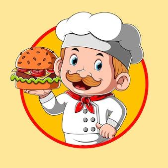 요리사와 함께하는 햄버거 레스토랑의 로고 영감