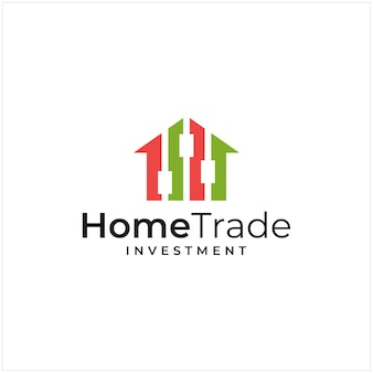 Logo inspiration that combines the shape of a house and the shape of an investment and trade logo