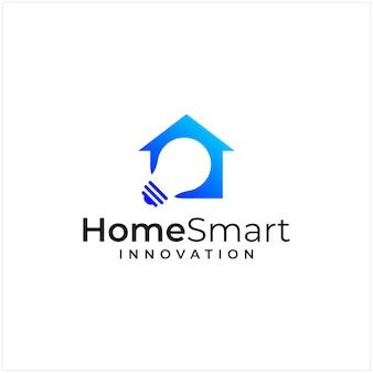 집과 램프의 형태를 결합한 로고 영감, 스마트, 로고 혁신.