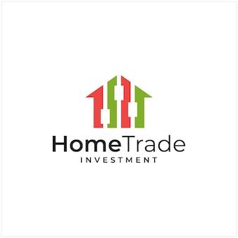 집의 형태와 투자 및 무역 로고의 형태를 결합한 로고 영감