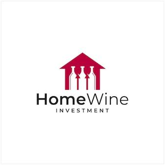 집의 형태와 투자의 형태를 결합한 로고 인스피레이션과 와인병 로고
