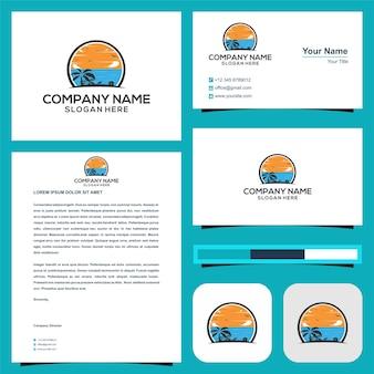 Логотип остров или море или отпуск в визитной карточке премиум векторы премиум логотип
