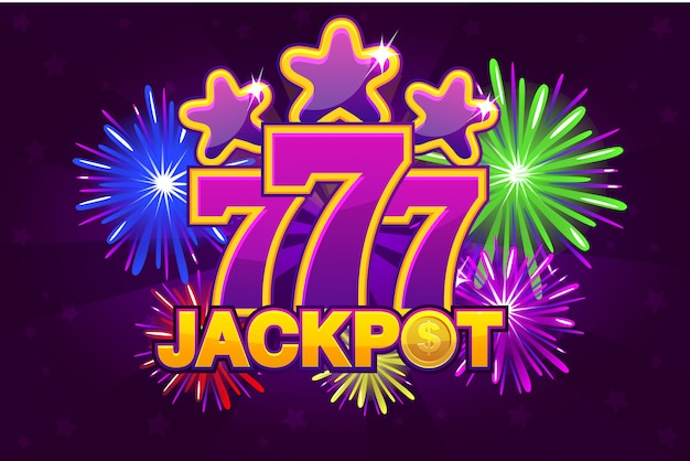 Logo jackpot and 777. shooting colored stars and firework. game banner
