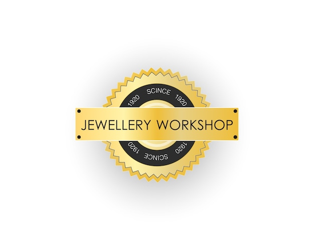 Logo of the jewelry workshop. clean background.