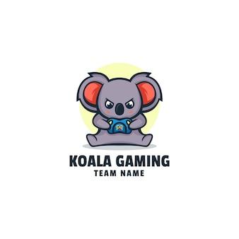 Logo koala gaming mascot cartoon style