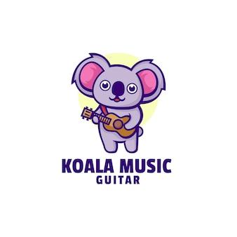 Логотип коала музыка талисман мультяшном стиле