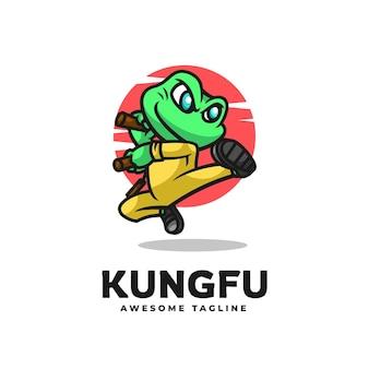 Логотип кунг-фу лягушка талисман мультяшном стиле