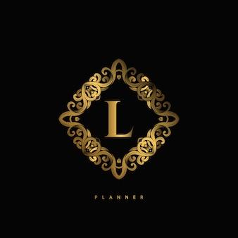 Логотип l премиум люкс с орнаментом