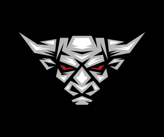 Логотип, этикетка, значок, иллюстрация головы быка с темным фоном.