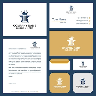 Logo law crown and business card