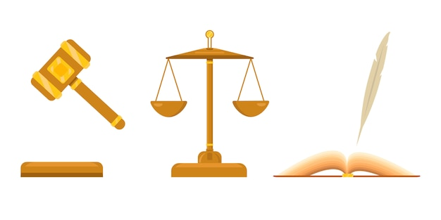 Logo for lawyer firm. law and justice scales. open book with pen, feather. judicial hammer with golden elements.