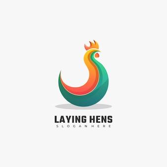 Логотип куры-несушки градиентом красочный стиль