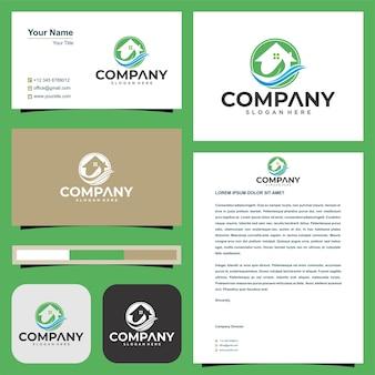 Logo leaf real estate and business card