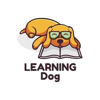 Logo learning dog простой стиль талисмана.