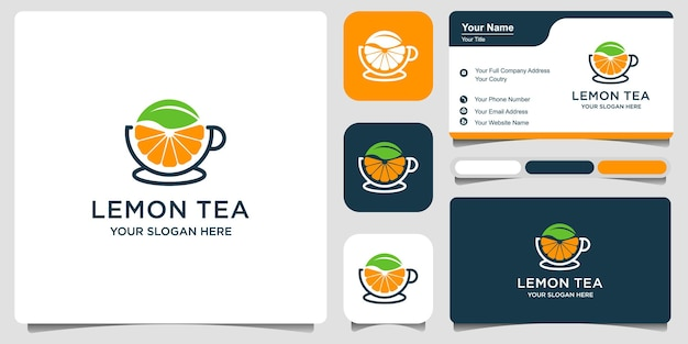 Logo lemon and fresh leaf tea cup abstract vector logo and business card design premium vector