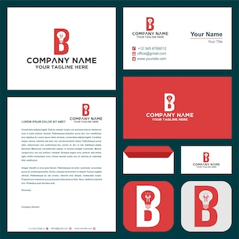 Logo letter b with lamp and business card