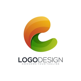 로고 문자 c 다채로운 그라데이션 현대