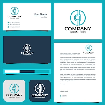 Logo letter ci and business card