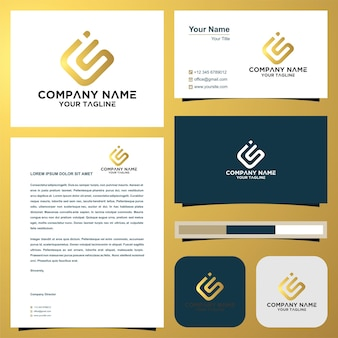 Logo letter cs and business card