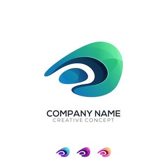 로고 문자 d 액체 다채로운 그라데이션