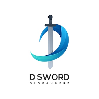 Logo letter d with sword gradient colorful
