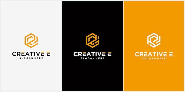 ロゴ文字eロゴ六角形リボンライン、アイコン、記号無限大ライン文字イニシャルeロゴデザインテンプレート