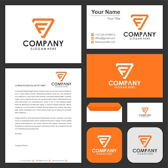 Logo letter f triangel and business card