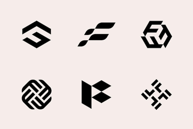 Logo letter f type set modern geometric