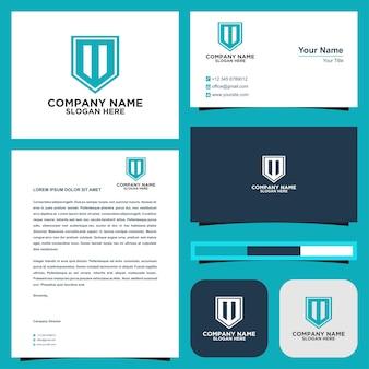 Логотип буква начальный компакт-диск и визитка премиум