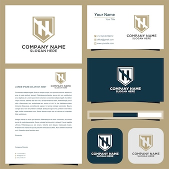 Logo letter initial h and business card premium