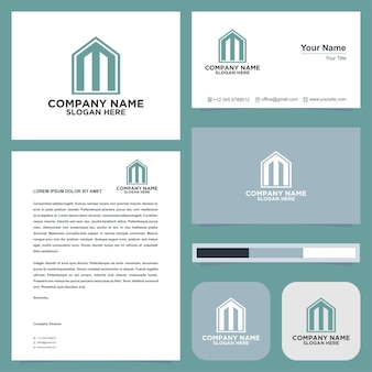 Logo letter initial m and business card premium