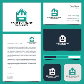 Logo letter initial mo and business card premium