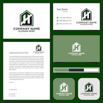 Logo letter initial n and business card premium