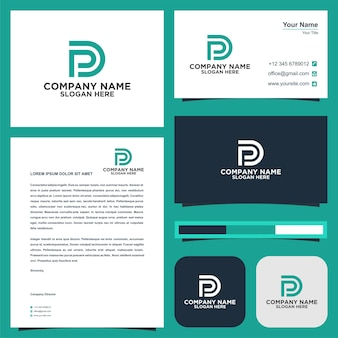 Logo letter initial pd and business card premium