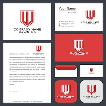 Logo letter initial w and business card premium