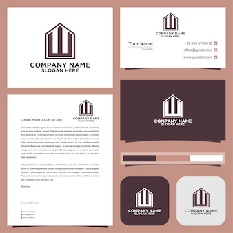 Logo letter initial wand business card