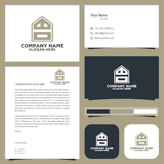 Logo letter initial wd and business card premium