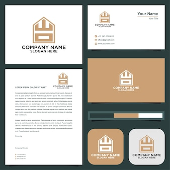 Logo letter initial wo and business card premium